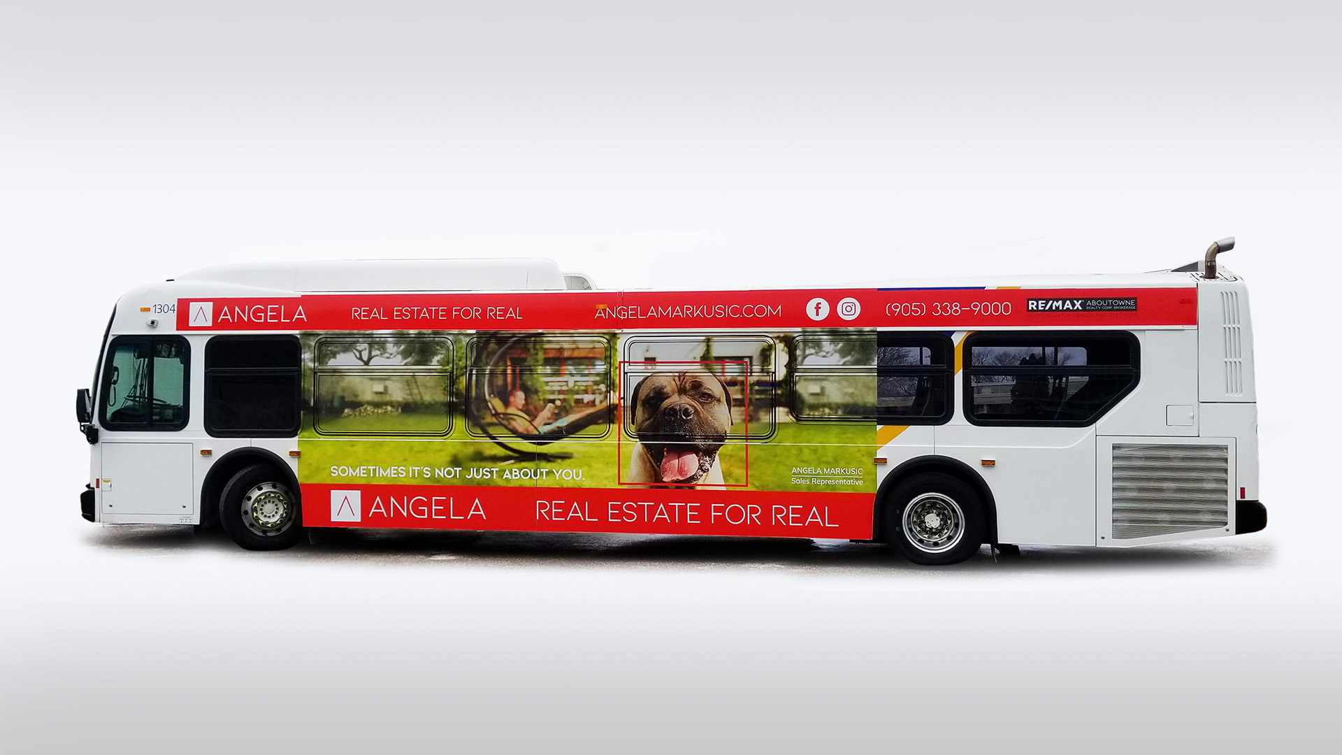 Angela Markusic Bus advertisement