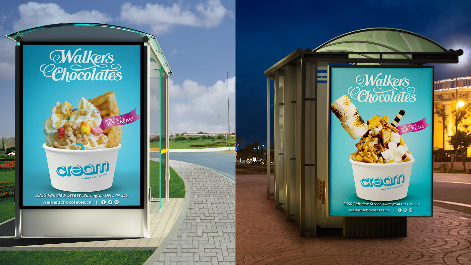 Cream by Walker's Chocolates Bus Stop advertisements