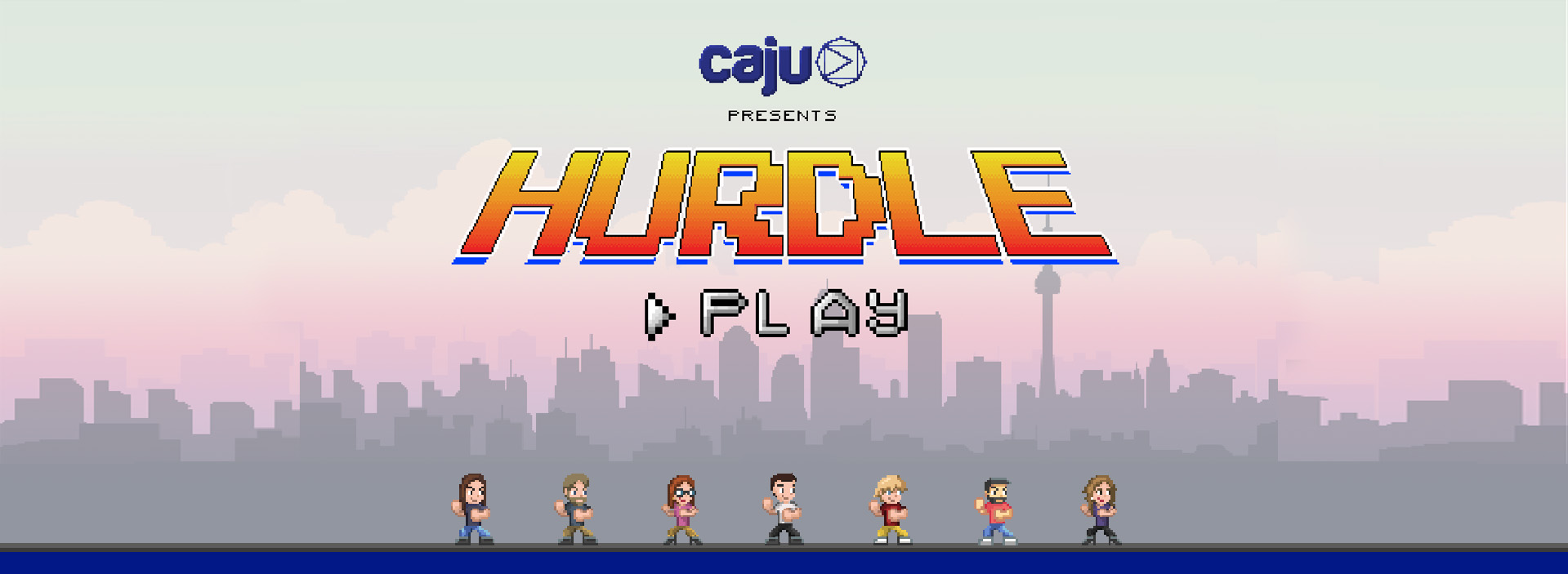 Caju Hurdle game with all employees background image