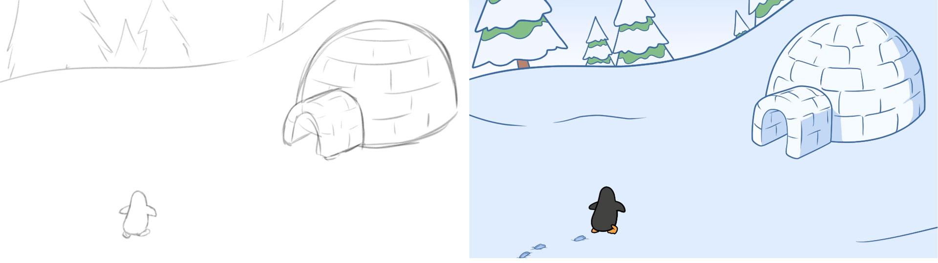 Penguin Basements penguin igloo video animation image