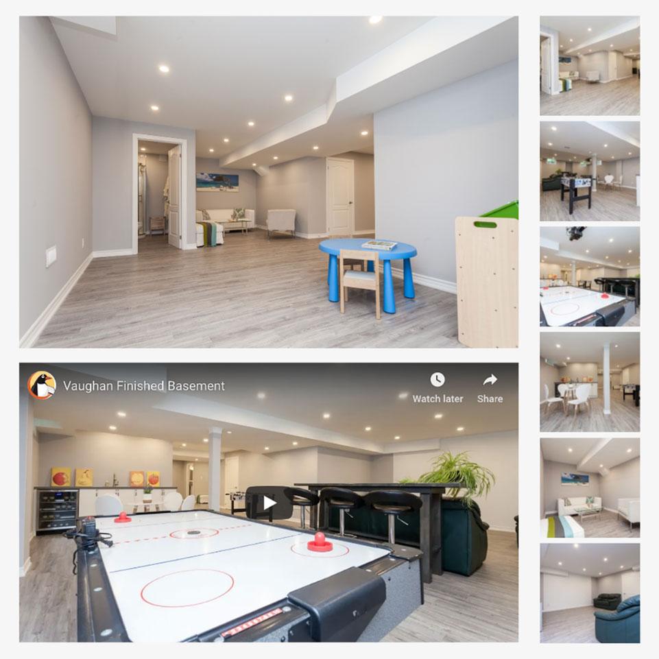 Penguin Basements photo collage of finished basements